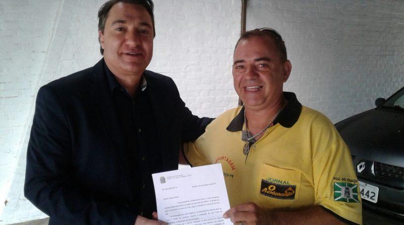 VELOFOZ – DEPUTADO FEDERAL FERNANDO GIACOBO ENTREGA OFICIO DE APOIO AO PROJETO